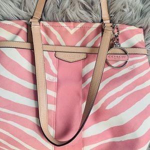 Pink zebra coach purse